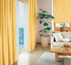全室カーテン(レール共)、LED照明付